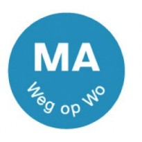 Permanent sticker 'ma weg op wo' 19 mm 1000/roll