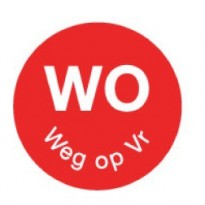 Permanent sticker 'wo weg op vr' 19 mm 1000/roll