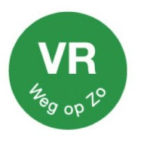 Permanent sticker 'vr weg op zo' 19 mm 1000/roll