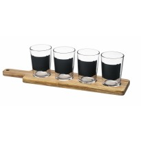 Beer taster set (4glass + board)