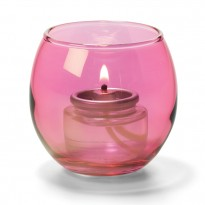 Cranberry small glass bubble tealight lamp