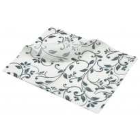 Greaseproof Paper grey Floral Print 25 x 20cm