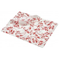 Greaseproof paper red floral print 25 x 20 cm