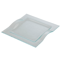 Glass plate square 24,5 cm wave