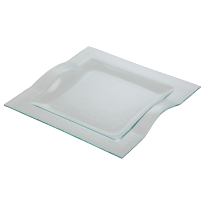 Glass plate square 29,5 cm wave