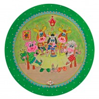 Child's plate with rim 'home fries' green 26,7 cm