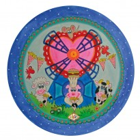 Child's plate with rim 'fries windmill' blue 26,7 cm