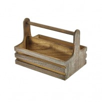 Rustic wooden table caddy 24,5 x 16,5 x 18 cm