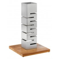 Skycap stainless steel riser with bamboo base